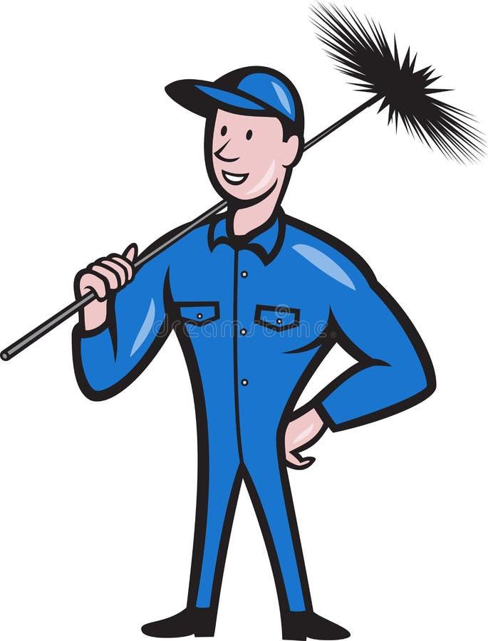 Bande dessinée de travailleur de décapant de balayeuse de cheminée illustration stock