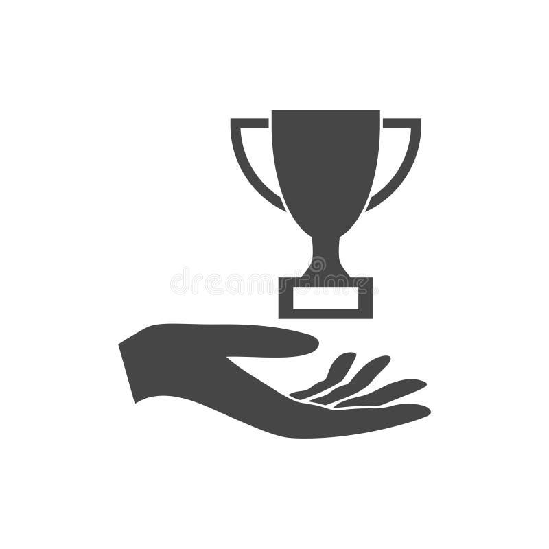 Illustration d'un trophée de offre de main illustration de vecteur