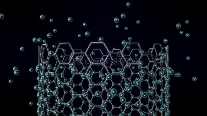 illustration 3D d'un tube de graphene, un nanotube, l'idée de la nanotechnologie Résumé, image futuriste de la synthèse de graphe illustration de vecteur