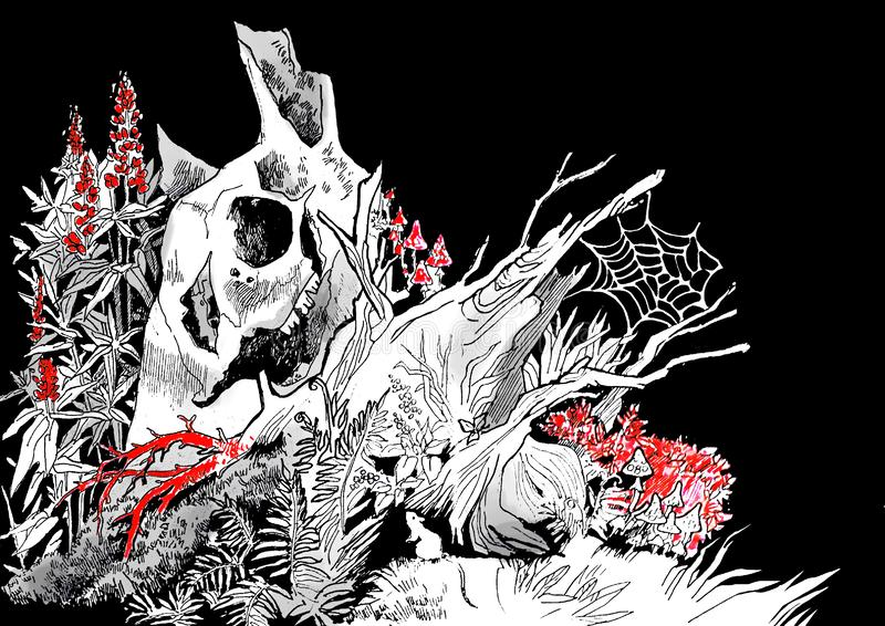 Illustration d'un vieux tronçon d'arbre putréfié illustration stock