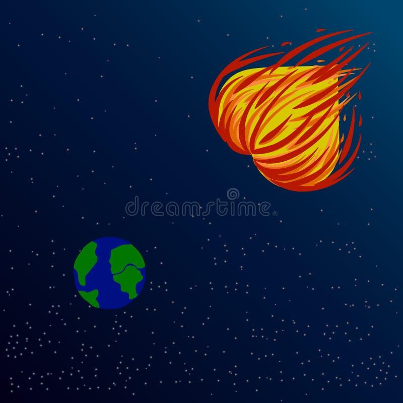 Illustration d'un vol ardent de coeur à la terre pour détruire la haine de l'un l'autre illustration stock