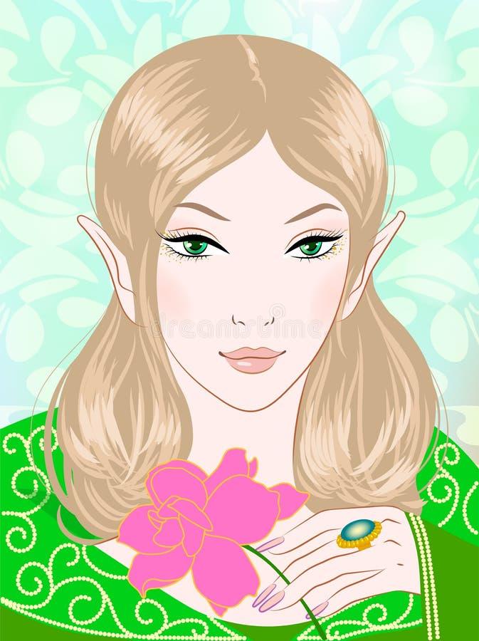 Illustration d'une belle fée de ressort dans des vêtements verts illustration stock
