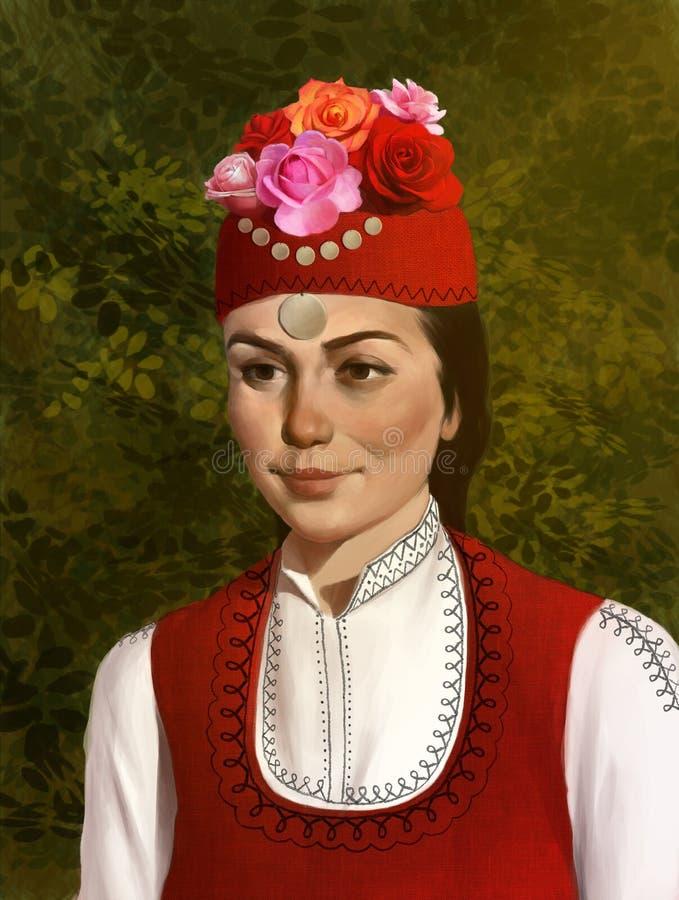 Illustration d'une belle fille bulgare dans l'habillement traditionnel illustration libre de droits