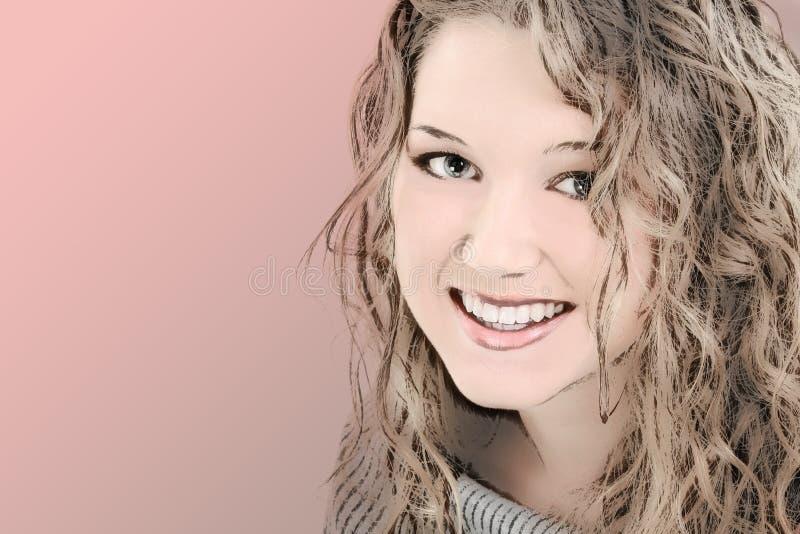 Illustration d'une belle fille de l'adolescence de 16 ans illustration de vecteur