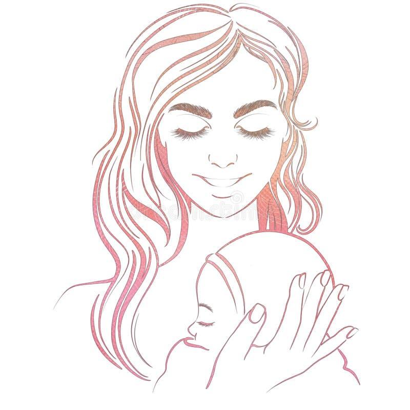 Illustration d'une belle jeune mère avec son bébé nouveau-né, elle sourit illustration de vecteur