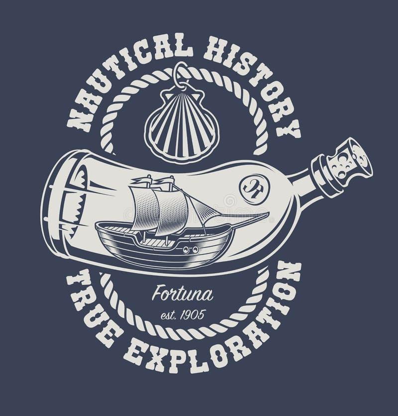 Illustration d'une bouteille avec un bateau illustration stock