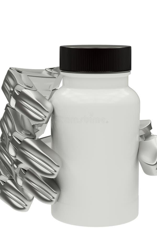 illustration 3d d'une bouteille de robot disponible de médecine illustration de vecteur