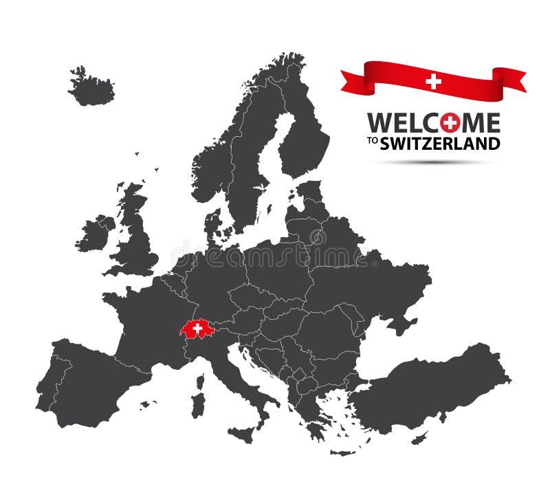 Illustration d'une carte de l'Europe avec l'état de la Suisse illustration stock