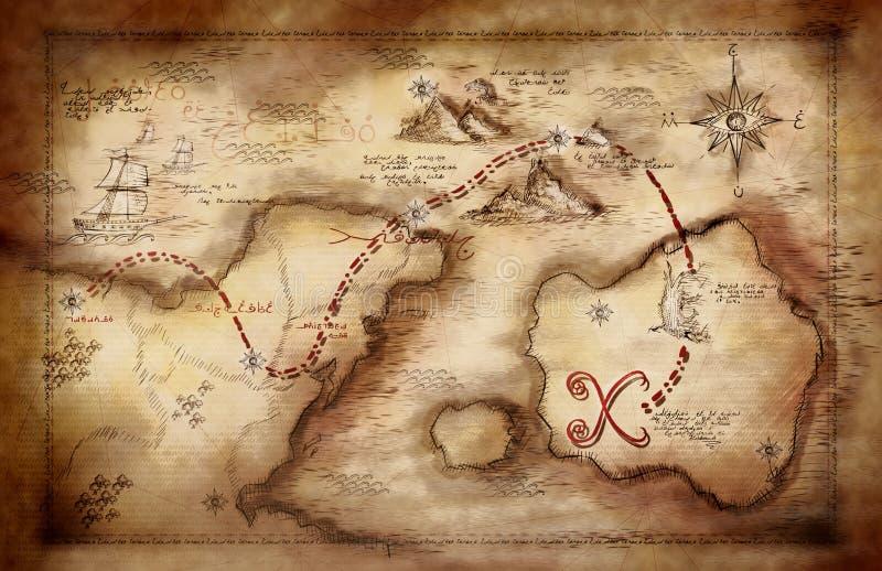 Illustration d'une carte de trésor illustration de vecteur