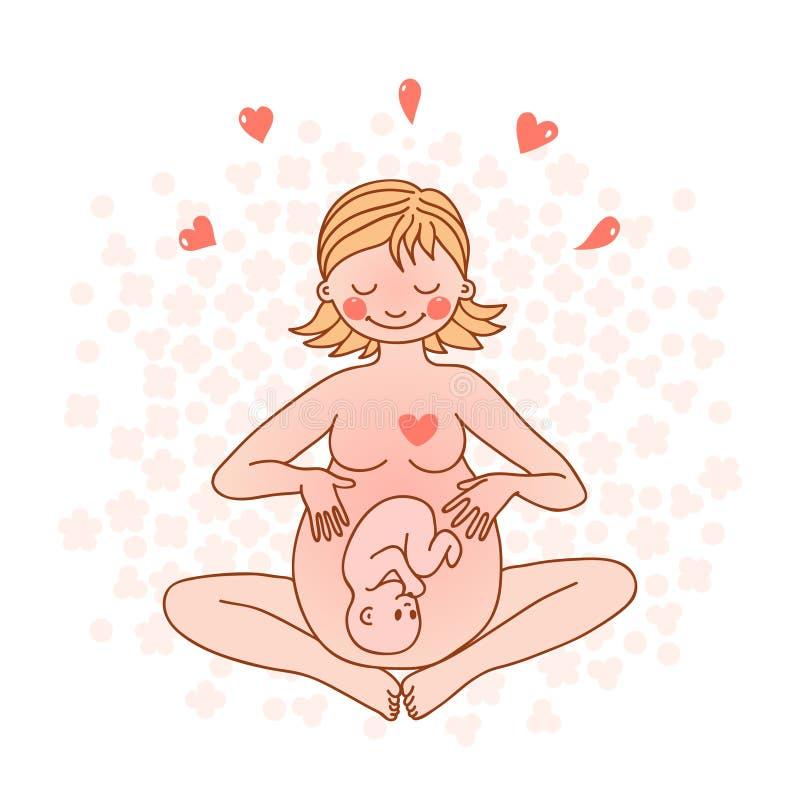 Illustration d'une femme enceinte heureuse illustration de vecteur
