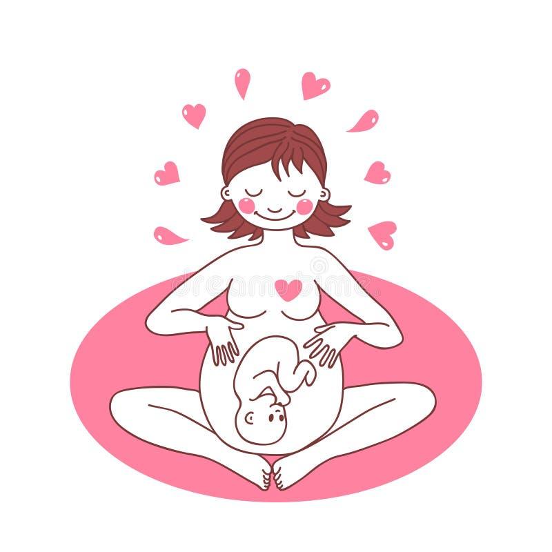 Illustration d'une femme enceinte heureuse illustration libre de droits
