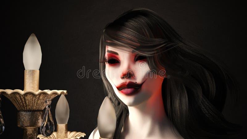 Illustration d'une femme fortement composée à côté de l'éclairage illustration libre de droits