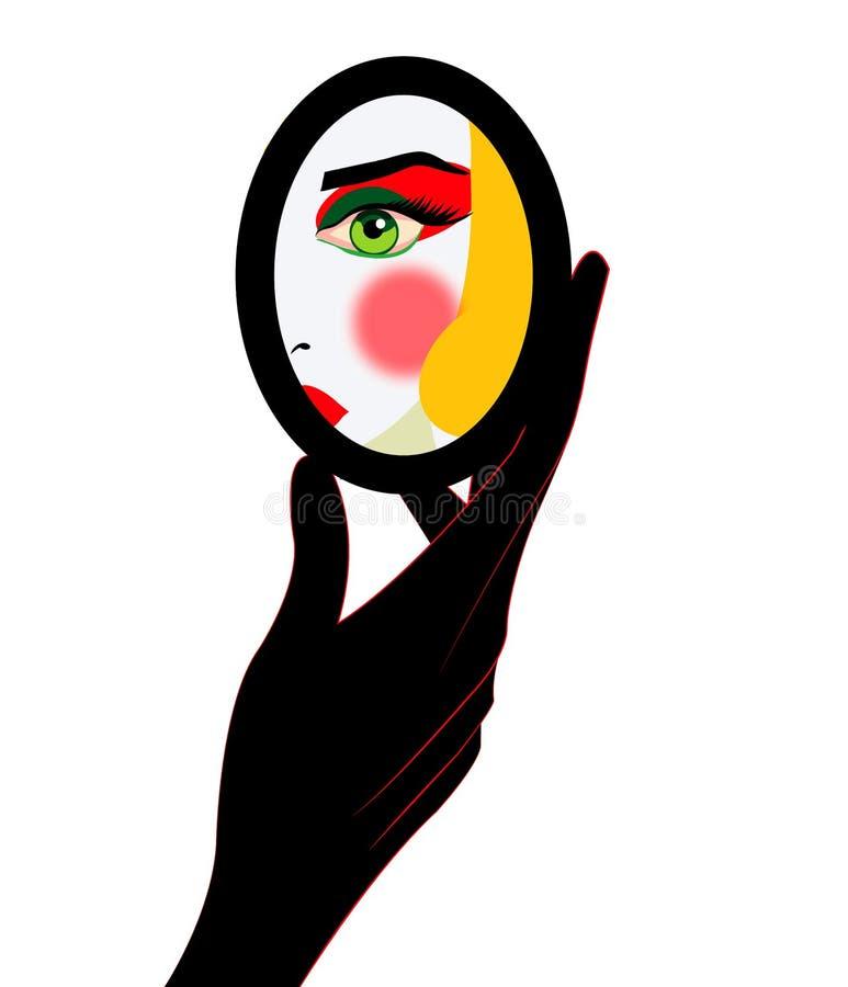 Illustration d'une femme regardant elle-même dans le miroir tout en la faisant pour composer illustration libre de droits
