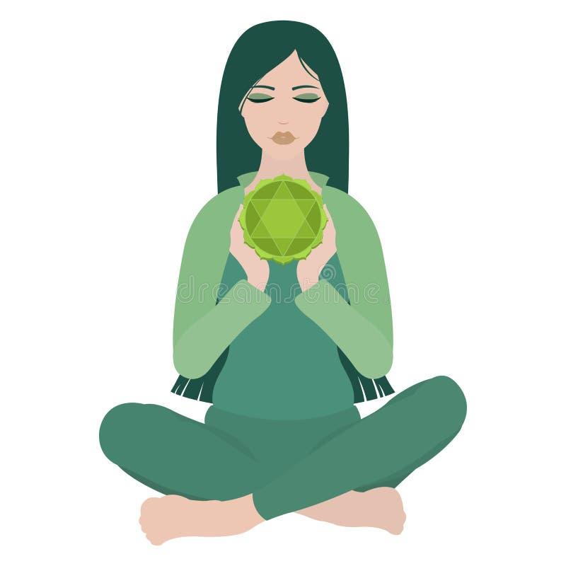 Illustration d'une femme s'asseyant dans la pose de lotus de yoga avec le chakra de coeur illustration libre de droits