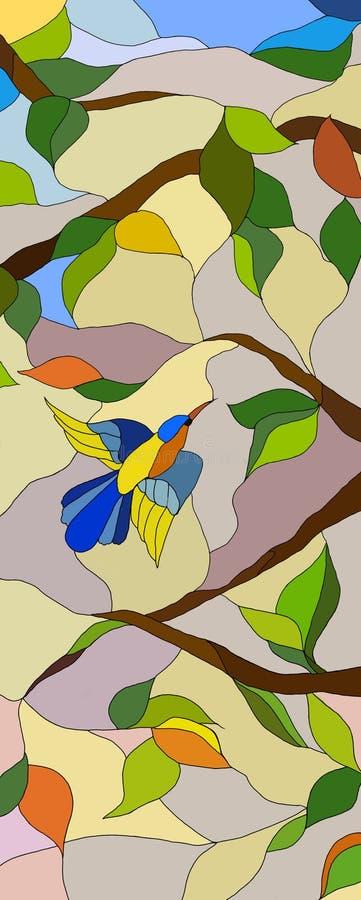 Illustration d'une fenêtre en verre teinté avec un oiseau illustration stock