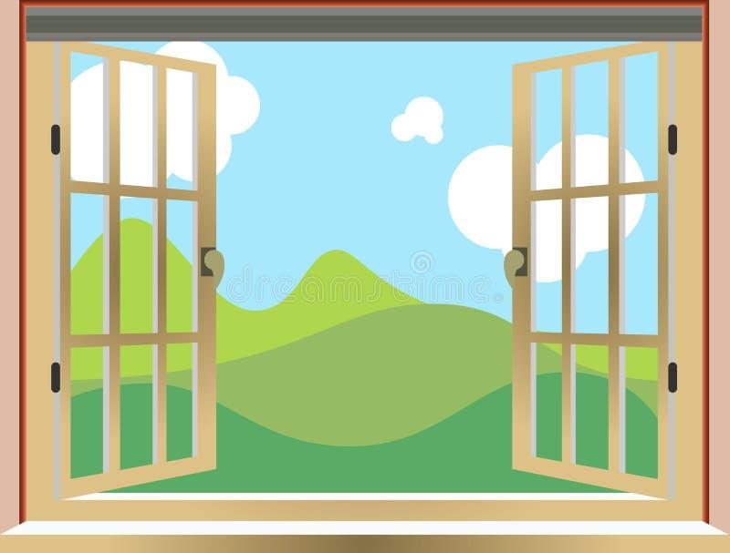 Illustration d'une fenêtre ouverte, vue de nature, bande dessinée, illustration stock