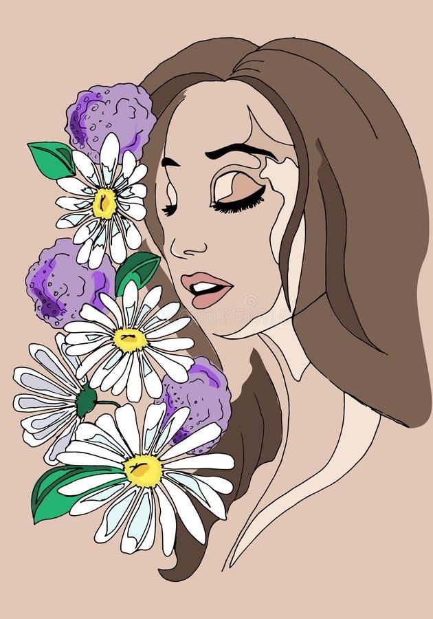 Illustration d'une fille avec des fleurs dans ses cheveux, dessin de main illustration stock