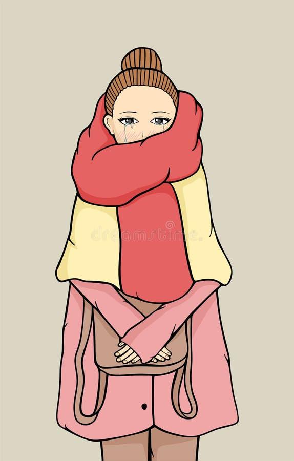 Illustration d'une fille pleurante illustration de vecteur