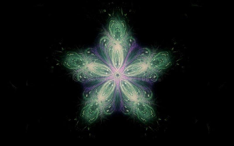 Illustration d'une fleur avec quatre p?tales de couleur lilas et verte sur un fond noir dans un style abstrait avec un lissage illustration libre de droits