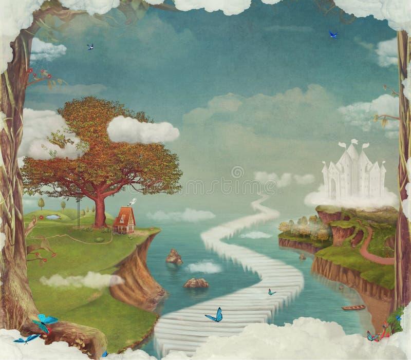 Illustration d'une forêt fantastique de conte de fées, château, pont, lac en ciel illustration de vecteur