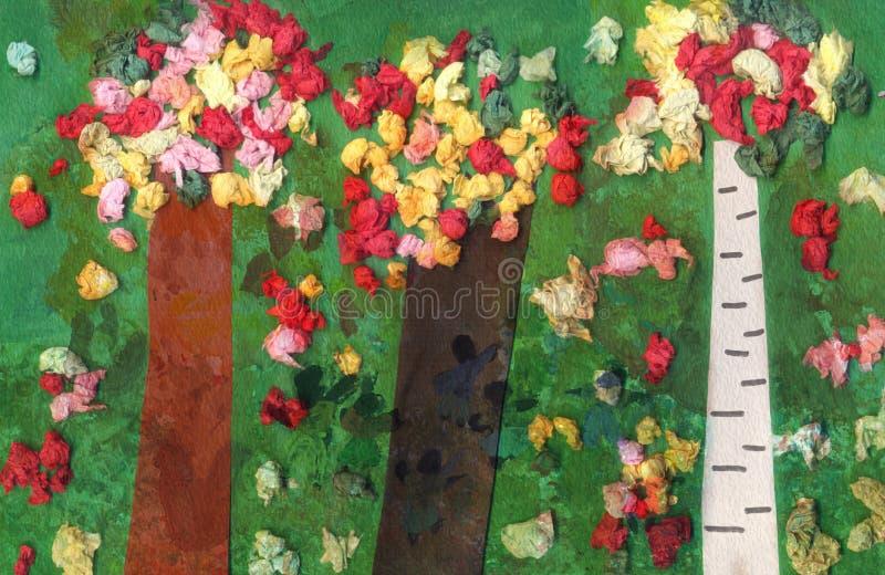 Illustration d'une forêt mélangée faite par de l'enfant six années illustration stock