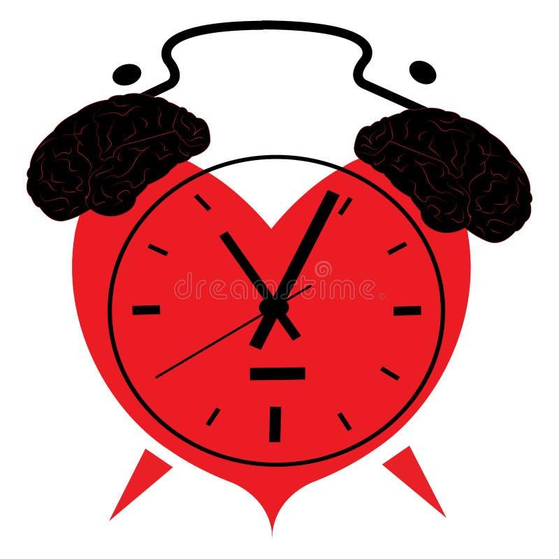 Illustration d'une horloge sous forme de coeur avec des cerveaux illustration libre de droits