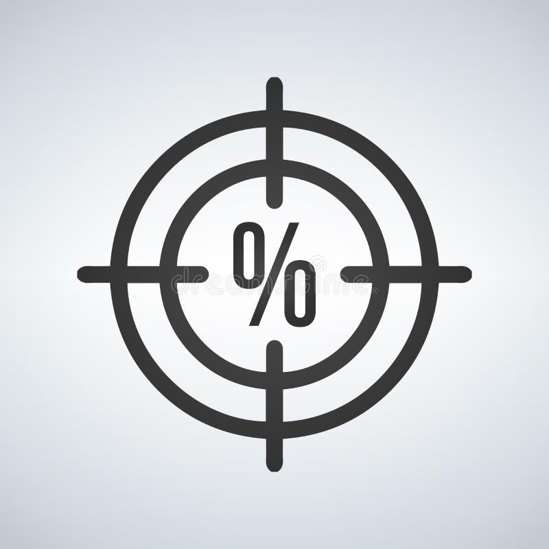 Illustration d'une icône de réticule avec un signe de precentage de remise illustration libre de droits
