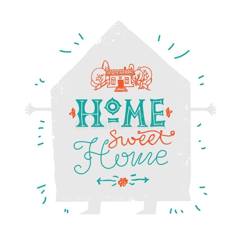 Illustration d'une inscription douce à la maison de maison de citation de Chambre tirée par la main illustration libre de droits
