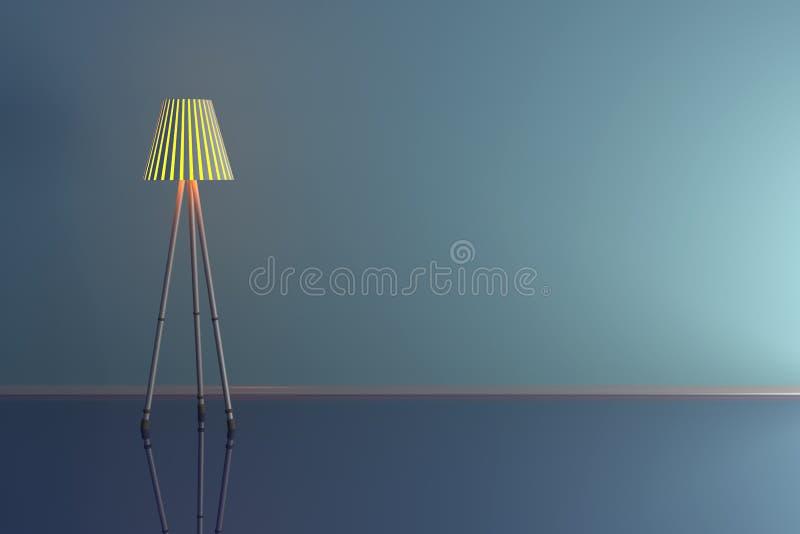 illustration 3d d'une lampe dans une salle bleue illustration stock
