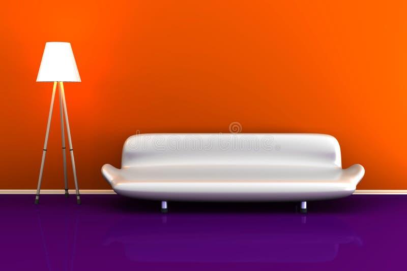 illustration 3d d'une lampe et d'un sofa blanc dans une salle colorée illustration de vecteur
