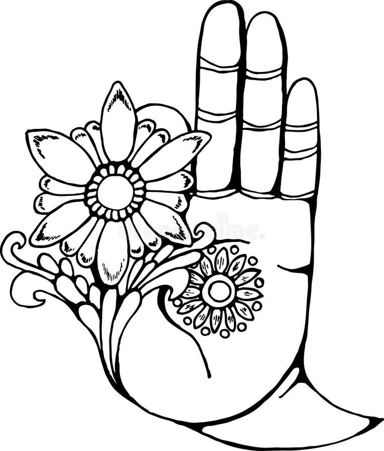 Illustration D Une Main De Bouddha Tenant Une Fleur Dessin Noir Et