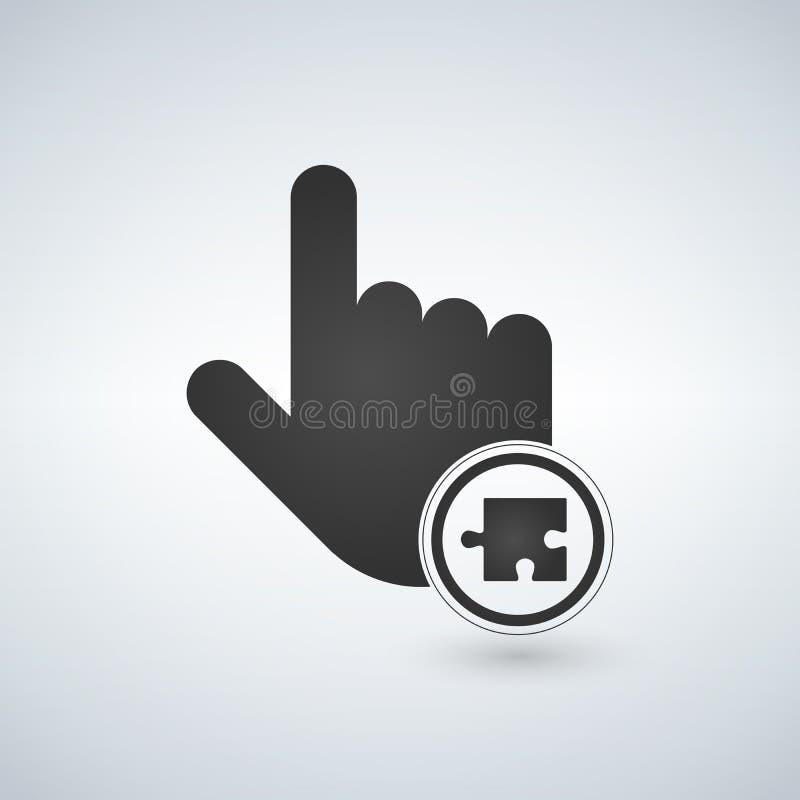 Illustration d'une main de pointage de doigt avec un morceau de puzzle en cercle Illustration illustration libre de droits