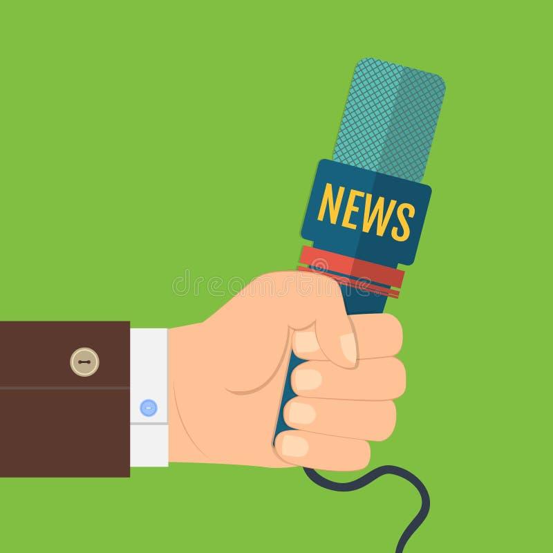 Illustration d'une main plate d'icône tenant un microphone, journaliste des entrevues d'actualités, conférence de presse illustration de vecteur