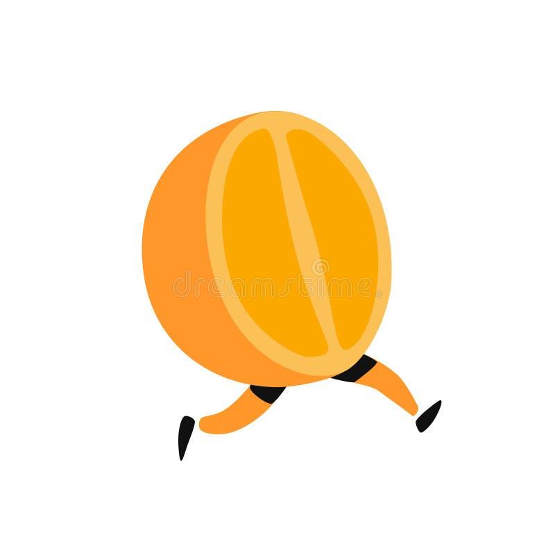 Illustration d'une orange courante Vecteur Icône de fruit orange savoureux Style plat de bande dessin?e Logo de service de distri illustration stock
