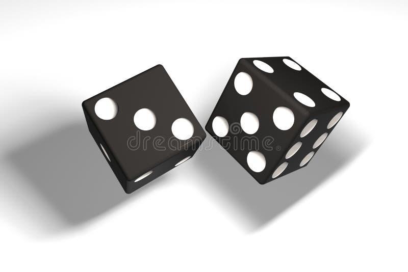 illustration 3d : une paire de matrices noires a accroché dans le ciel après avoir été jeté Ombre Fond blanc illustration de vecteur