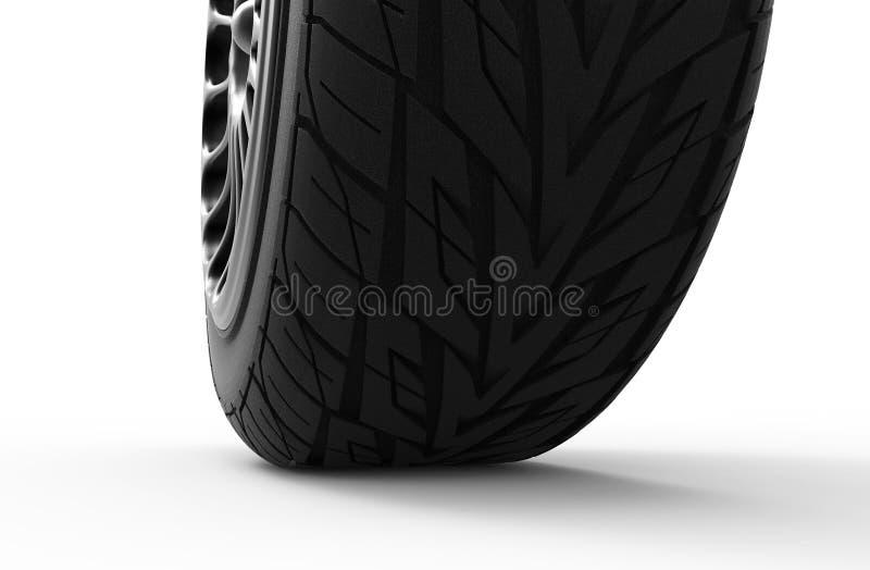 illustration 3d d'une roue de voiture sur un fond blanc images stock