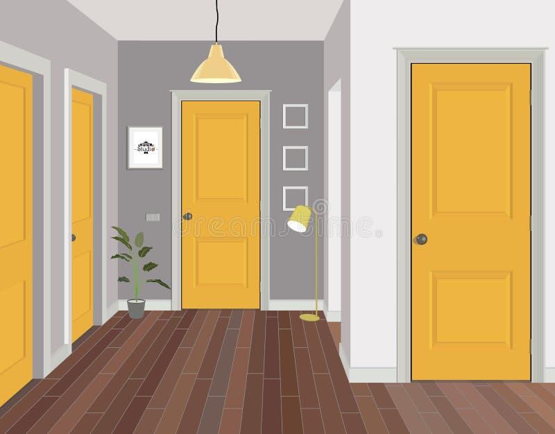 Illustration d'une salle avec les portes jaunes Intérieur de la salle avec des meubles Couloir d'illustration illustration libre de droits