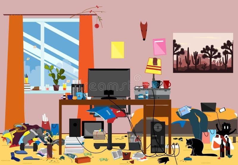 Illustration d'une salle désorganisée salie avec des morceaux de déchets Pièce où youngguy ou étudiant vit illustration stock