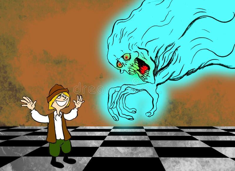 Illustration d'une scène de l'histoire l'histoire de la jeunesse qui est allée en avant apprendre ce qu'était la crainte illustration stock