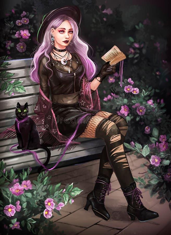Illustration d'une sorcière sur le banc photos stock