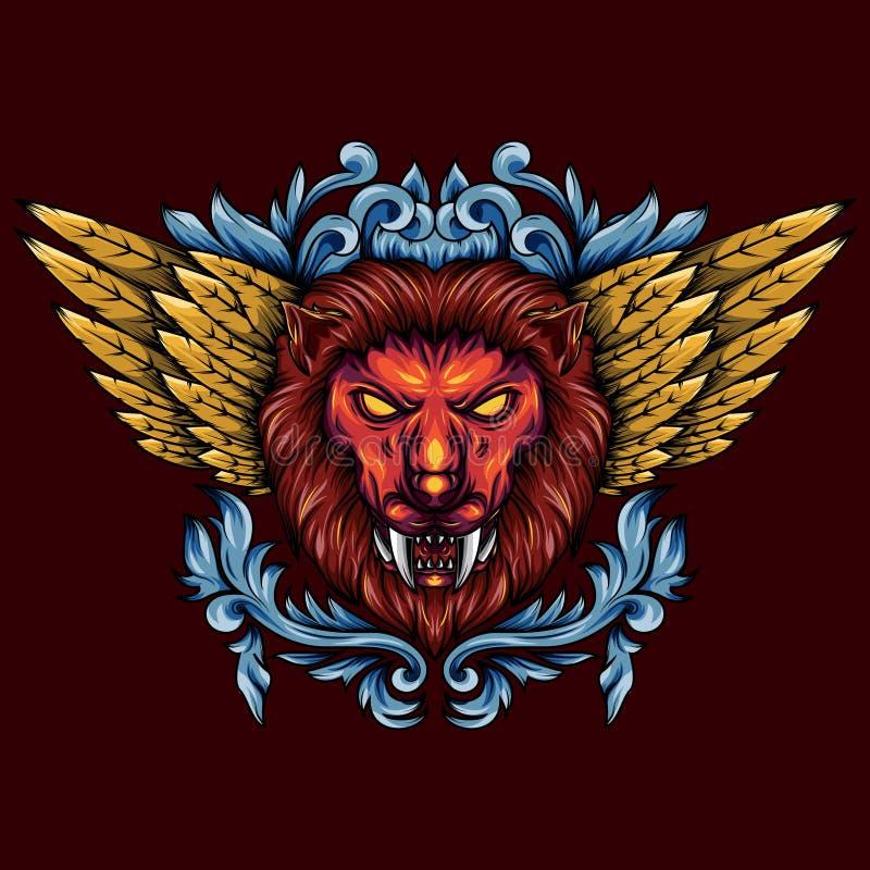 Illustration d'une tête mythique à ailes d'or de lion Avec la géométrie florale et sacrée qui le rend plus artistique illustration stock