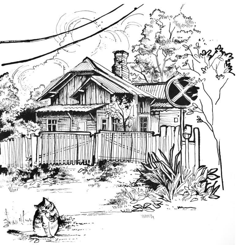 Illustration d'une vieille maison en automne photos libres de droits
