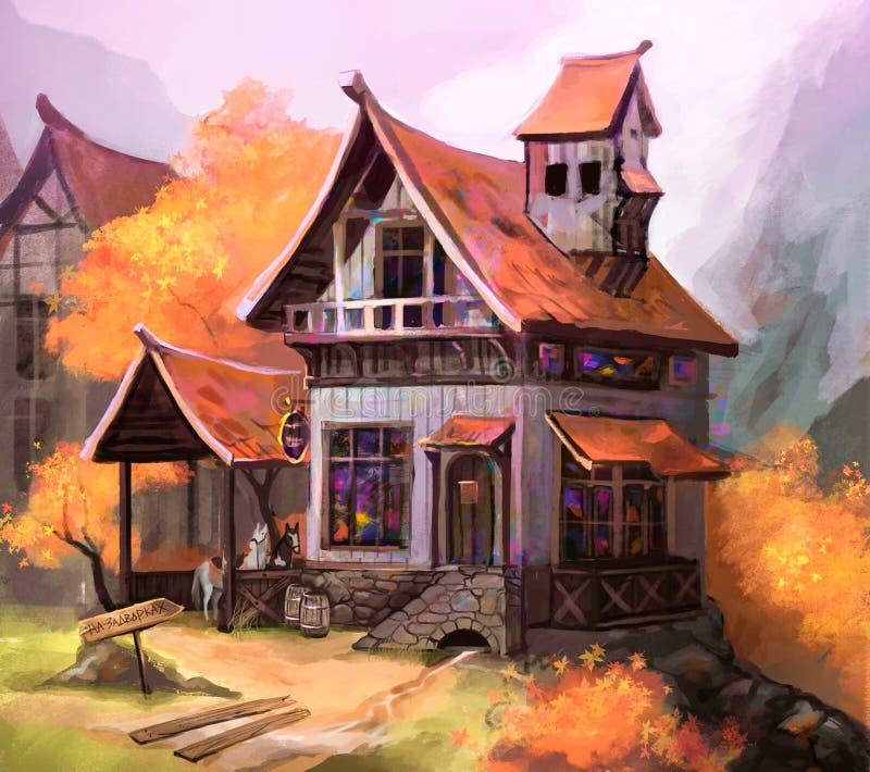 Illustration d'une vieille maison en automne photo stock