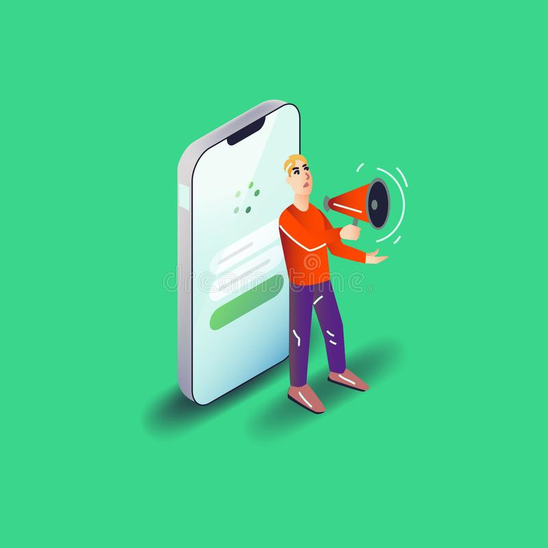 Illustration d'utilisateur d'appli de vecteur Art plat avec l'application mobile de smartphone illustration de vecteur