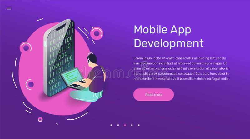 Illustration d'utilisateur d'appli de vecteur Art plat avec l'application mobile de smartphone illustration libre de droits