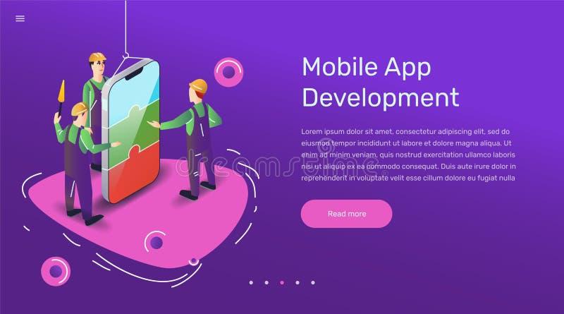 Illustration d'utilisateur d'appli de vecteur Art plat avec l'application mobile de smartphone illustration stock