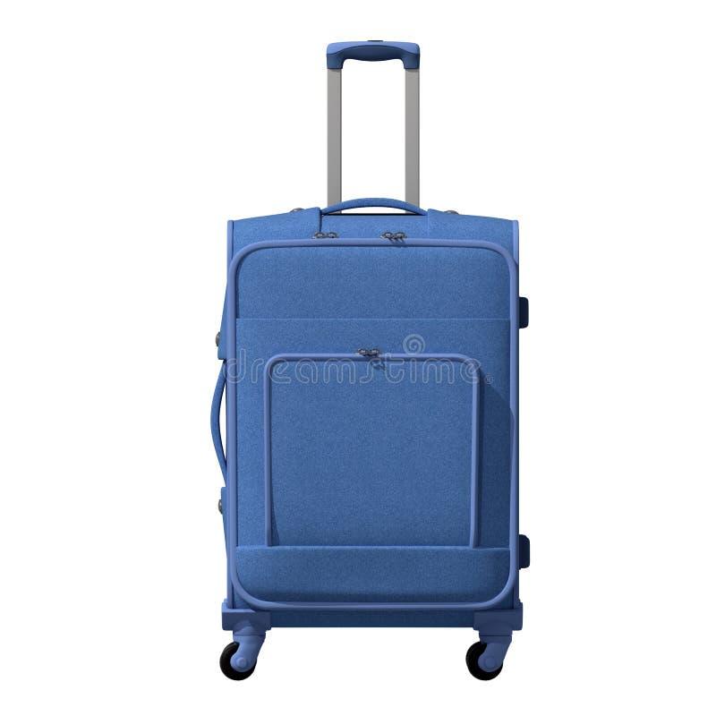 illustration 3d Vägkopronresväskan är blått-grå färg facade isolerat arkivbild