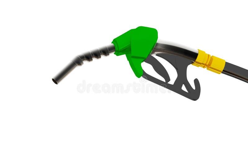 Illustration 3D, versehen pumpendes Benzin in einem Beh?lter, des auslaufenden Benzins der Zapfpistole ?ber wei?em Hintergrund mi vektor abbildung