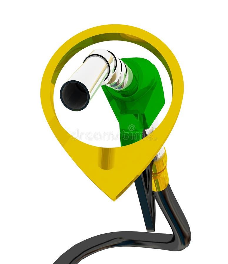 Illustration 3D, versehen pumpendes Benzin in einem Beh?lter, des auslaufenden Benzins der Zapfpistole ?ber wei?em Hintergrund mi lizenzfreie abbildung