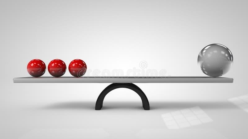 Illustration 3d von balancierenden Bällen an Bord der Konzeption vektor abbildung